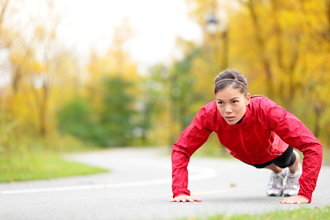 Woman Doing Push-ups Outside
