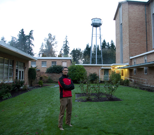 Gilchrist in campus courtyard