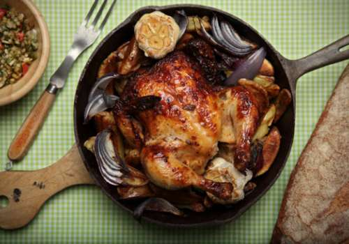 Chicken in cast-iron skillet