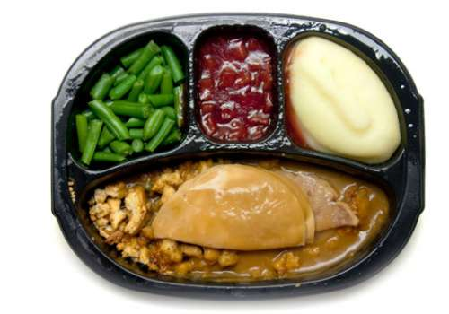 TV dinner on tray